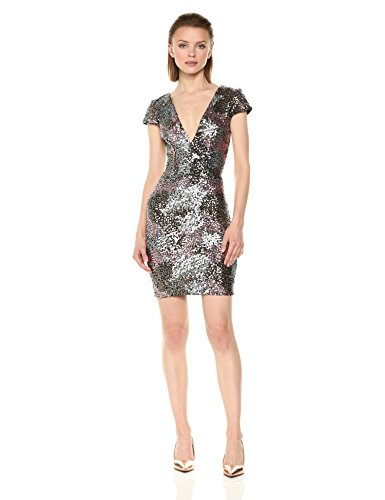 Women's Zoe Dress Plunging Sequin Dress Mini Gold Gold The Rose Cap Silver Sleeve Population USWES
