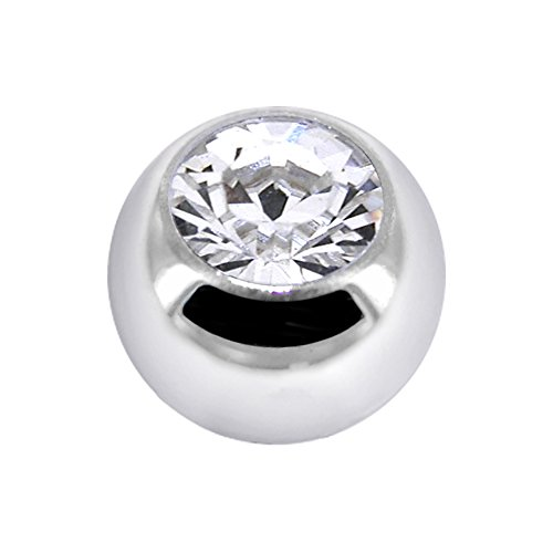 (Body Candy 14k White Gold Cubic Zirconia Replacement Ball 14 Gauge 4.5mm)