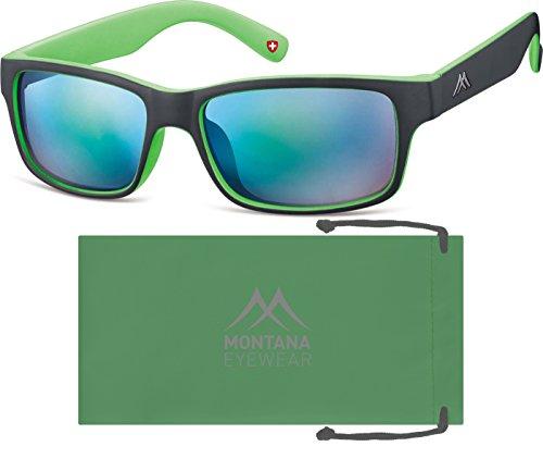 Montana, Lunettes de Soleil Mixte Multicolore - Multicoloured (Black/Green/Revo Green)