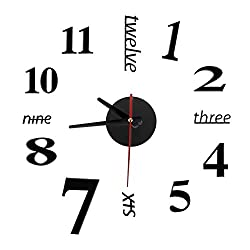 New Modern DIY Analog 3D Mirror Surface Large Number Wall Clock Sticker Home Decor Black