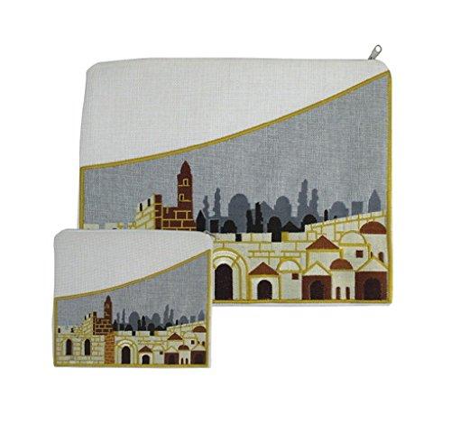 Embroidered Linen Tallit and Tefilin 2 Bag Set Jerusalem City Walls Design Ivory