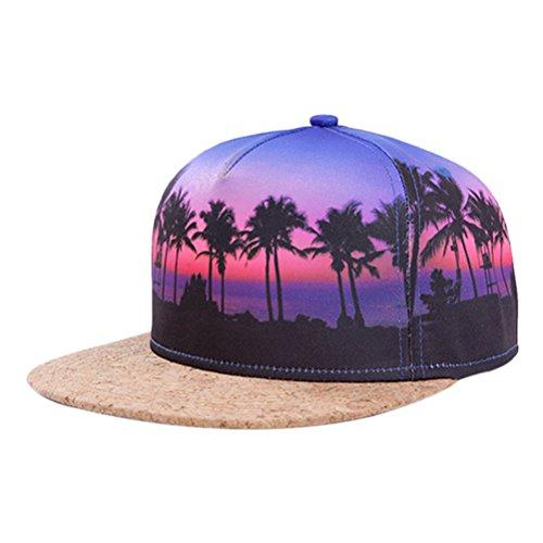 So'each Galaxy Hawaii Coconut Tree Print Flatbill Visor Snapback Cap Baseball Hat