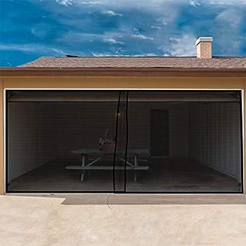 Single Car Garage Door Magnetic Mesh Screen W Opening 8