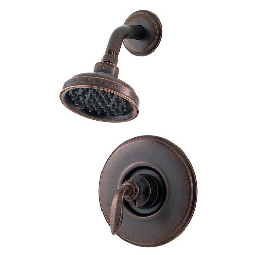 Price Pfister R89-7CBU Shower Only, Avalon Lever Handle, Round Flange, Decorative Shower Head, Rustic Bronze