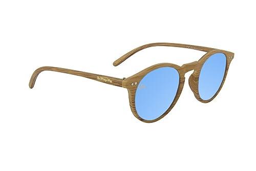 Gafas de sol Efecto Madera The Wrong Way. Lentes de espejo azul. Montura resistente a golpes y defor...