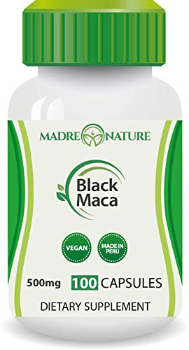 Madre Nature – Organic Gelatinized Black Maca Root from Peru – Max Strength 1000mg Per Serving – Supports Reproductive Health & Energy – Non-GMO