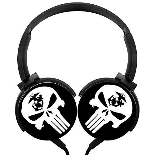Semper-Fi-USMC-Logo Earphone Wired Headsets Headphones 3.5MM Axis Rotation Hi-Fi 3D Customized Heavy Bass Stereo Headsets (Bravo Earphones Headphones)