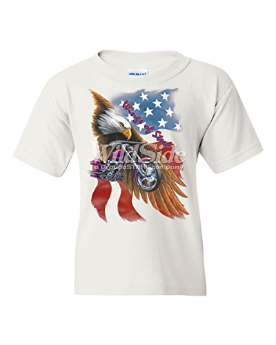 T-shirt Wings Steel (Wings of Steel Youth T-Shirt Route 66 Biker Flag Bald Eagle Tee White S)