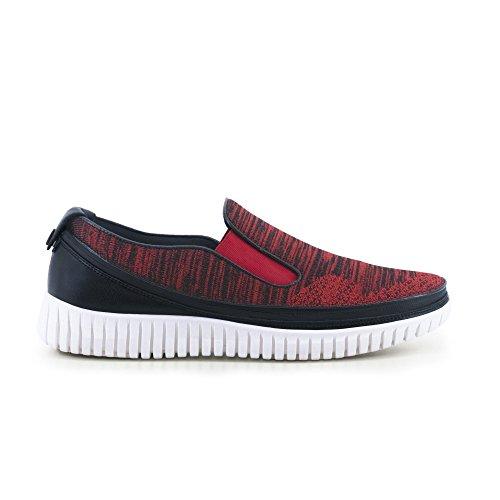 ACBC Scarpa Sneakers Knit Suola Bianca e Scarpa Nero - Rosso con Zip
