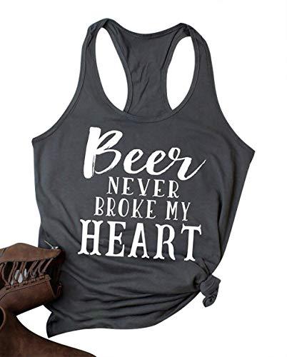 MAXIMGR Beer Never Broke My Heart Tank Top Women Funny Saying Sleeveless Racerback Summer T-Shirt Vest Beer Tanks Gray (Best T Shirt Sayings)