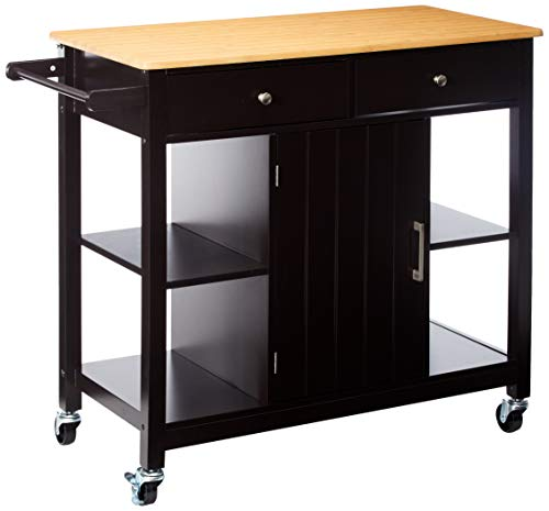 Merax WF038458PAA Kitchen Island Rolling Cart with Storage Cabinets, Natural and Espresso Finish