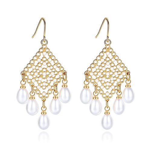 LEVIOLET Christmas Fashion Gold Plated Chandelier Dangle Earrings, BoHo Filigree Statement Dangling Earring with Pearl