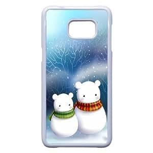 Samsung Galaxy Note 5 Edge Case , Cute Snowman Bear Couple Samsung Galaxy Note 5 Edge Case White-PLKS0934353