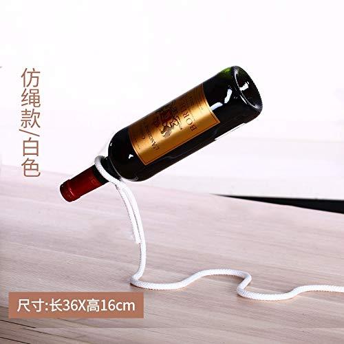 Happy space - Botellero de de de Hierro con Cuerda Blanca Creativa Europea, Soporte para Botellas de Vino, para Escritorio, decoración de Escritorio, 2 Unidades 27faf3