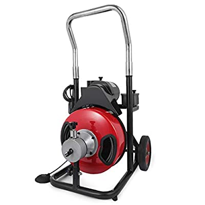 LOVSHARE 400W Drain Cleaning Machine 50FT Drum Capacity 110V 1/2 inch Solid Core Cable 1/3 HP 1750 RPM Auto Feed Control Cleaners Auto-clean Sink Machine Sink Drain Machine with Bulb Drain Auger