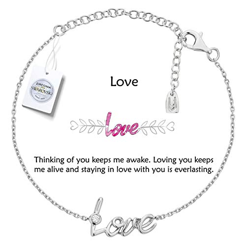 Vivid&Keith Womens Girls 925 Real Sterling Silver 18K Plated Swarovski Zirconia Cute Adjustable Gift Fashion Jewelry Link Chain Charm Pendant Bangle Bracelet, Love, White Gold Plated