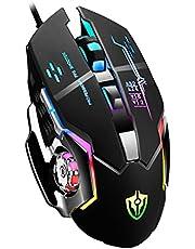 Mouse Gamer Rato para jogos Ratos Gamer com fio 6 botões luminosos E-sports Mecânica Macro Programação Mouse USB para jogos de computador PC laptop (Preto)