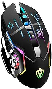Mouse Gamer Rato para jogos Ratos Gamer com fio 6 botões luminosos E-sports Mecânica Macro Programação Mouse U