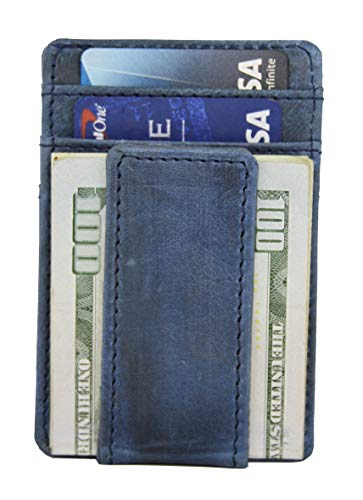 RAWHYD Slim Full Grain Leather Front Pocket Travel Wallet w/ Magnetic Money Clip