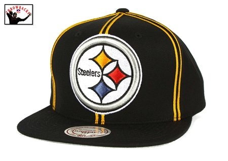 6df394dfa4a Image Unavailable. Image not available for. Color  Pittsburgh Steelers XL  Logo Double Soutache Snapback Hat - NFL Mitchell   Ness Cap