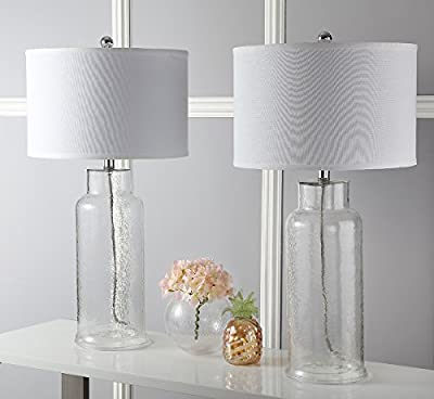 Safavieh Lighting Collection Bottle Glass Crackle and White Table Lamp