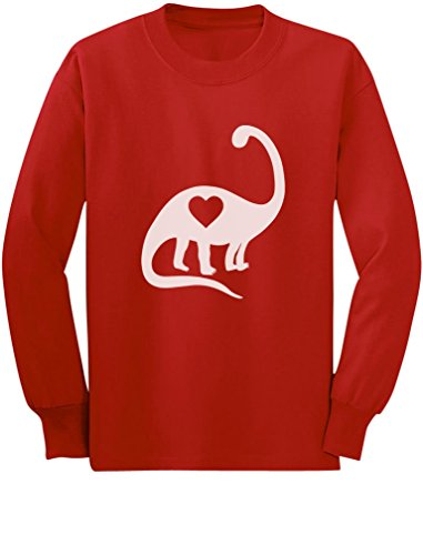 Dinosaur Love Heart Cute Toddler/Kids Long Sleeve T-Shirt 5/6 Red