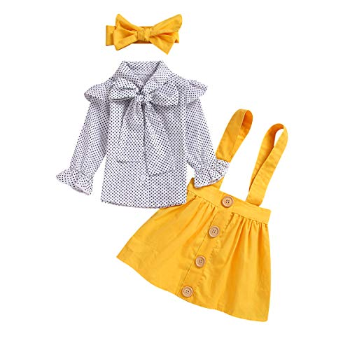 Toddler Baby Girl Elegant Dot Print Bowknot Shirt + Pure Yellow Overall Dress Girls Princess Suspender Skirts Set (Dot Print, 6-12 Months) ()