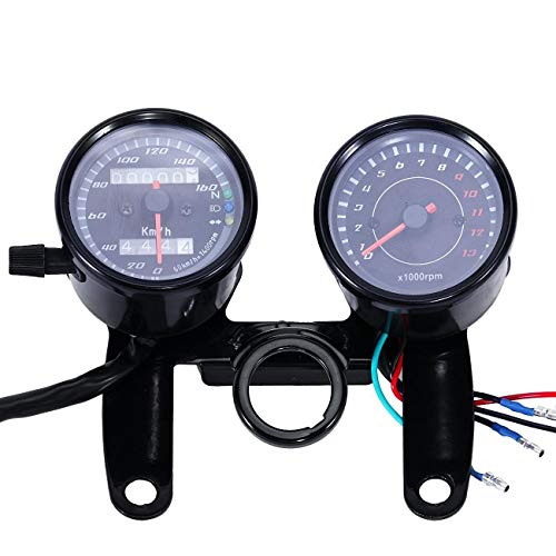 (INNOGLOW Univeral Motorcycle Backlit Dual Speedometer Tachometer kit,0-13000RPM,0-160km/h)