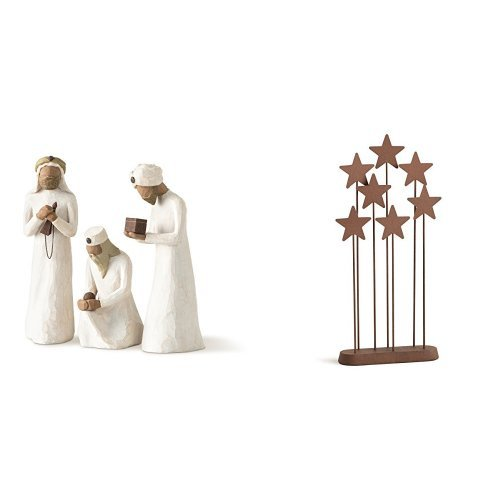 Demdaco Willow Tree 8.5-inches The Three Wisemen for the Nativity, Resin metal & Willow Tree Metal Star Backdrop by Susan Lordi 26007