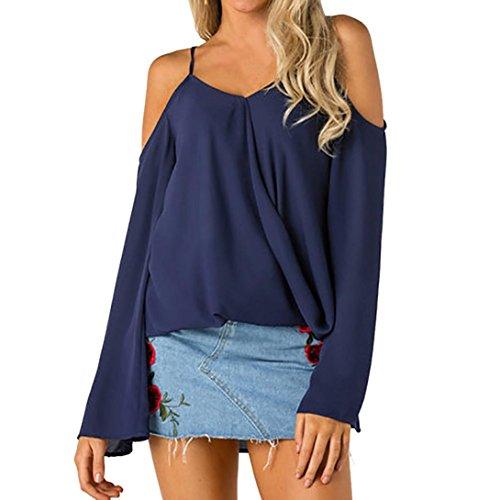 Felpa Casual V Pullover donna In Abcone Tops Lunghe Camicie Elegante T Con A Scollo Solido Blu Maniche Pizzo shirt Autunno Camicette w1E0q0