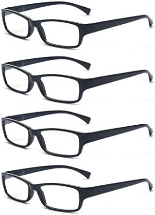 Outray Men Or Women 4 Pack Spring Hinges Frame Rectangular Reading Glasses