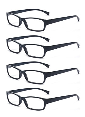 Black Frame Hinges - Outray Men Or Women 4 Pack Spring Hinges Frame Rectangular Reading Glasses 1.50