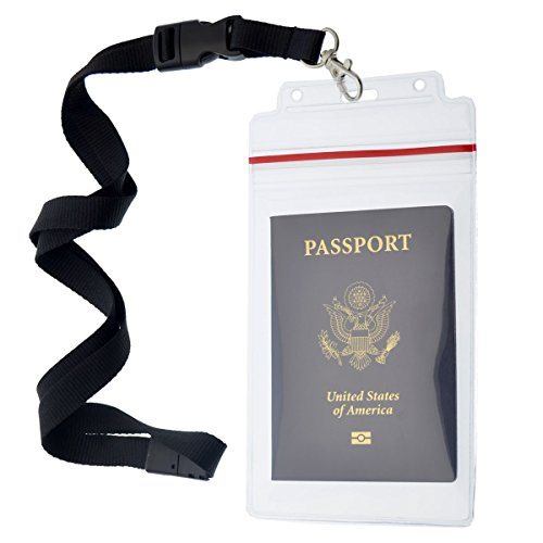 Passport Holders - 2 Pack - Heavy Duty Water and Tear Resistant with Lanyard - 4X6 Insert is ideal for Cruise and Beach Vacation Documents (Black)
