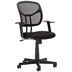 AmazonBasics Classic Mid-Back Mesh Swivel Chair with Armrest – Black