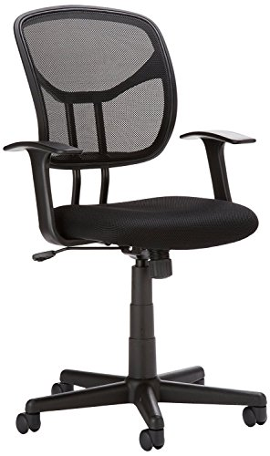 AmazonBasics Classic Mid-Back Mesh Swivel Office Desk Chair with Armrest - Black ()
