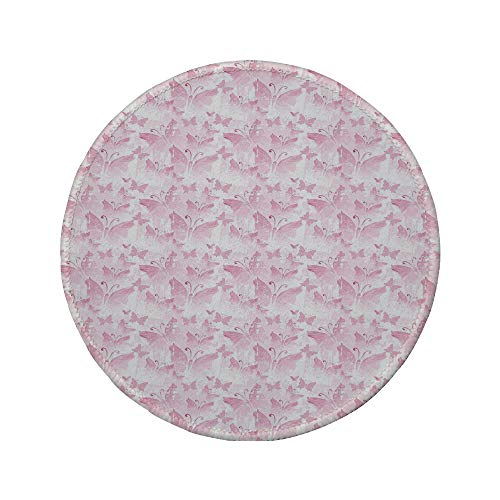 Non-Slip Rubber Round Mouse Pad,Abstract,Soft Romantic Butterflies Animal Scenes Vintage Inspired Creature Designs Decorative,Pale Pink White,7.87