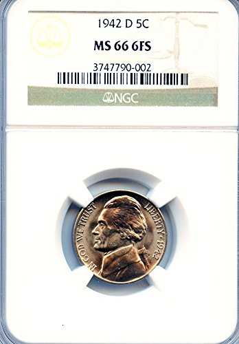 1942-d GEM BU Jefferson Nickel Graded By NGC MS66 - 6FS (Full Steps) Key Date