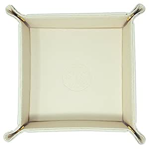 SIVEL + SHARP Leather Valet Tray - Embossed Catchall Tray with Brass Snaps (Vanilla Cream)