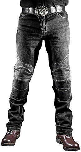 Hanyam メンズ バイクパンツ ライディングパンツ デニム ストレッチジーズン パッド付き プロテクション 耐磨 ブラック サイズXL