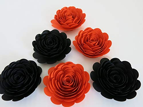 Black and Dark Orange Roses, Set of 6 Halloween Decorations, 3