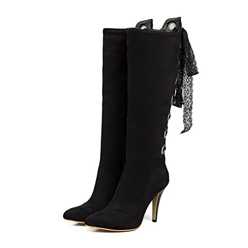 top AgooLar High Boots Closed Frosted High Toe Heels Pointed Black Women's Solid qpqT0an