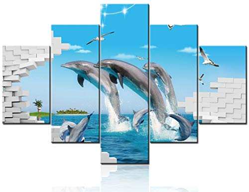 5 Piece Canvas Wall Art Dolphin Fish Pictures Undersea Animal Paintings for Living Room Giclee Seascape Aquarium Artwork Rustic House Decor Wooden Framed Ready to Hang Poster and Prints(60''Wx40''H)
