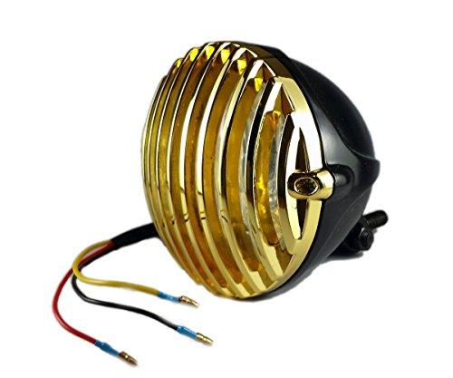 汎用4.5インチビンテージヘッドライト/バードケージ グリル/ハーレーニュースクールボバーチョッパーオールドスクール/ブラック×ゴールド B01N1OR8S1