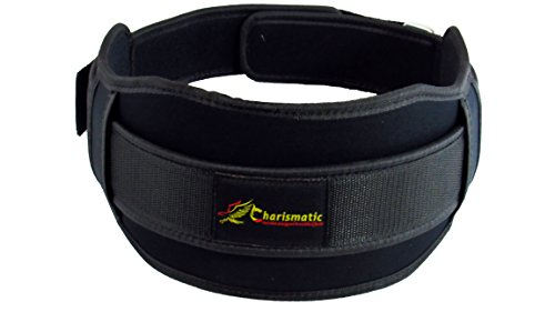 Charismatic 6 Inch Weight Lifting Belt for Men and Women - Durable Comfortable Adjustable Flexible & Stabilizing Lower Back Support for Power Crossfit & More (Black, Small)