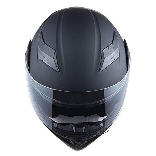 1Storm Motorcycle Modular Full Face Helmet Flip up Dual Visor Sun Shield: HB89 Matt Black XL(23.2-23.6 inch)