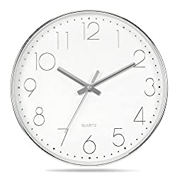 Genbaly Modern Wall Clock, Non Ticking Quality Quartz Battery Operated 12 Inch Round Easy to Read Home/Office/School Clock, Silver