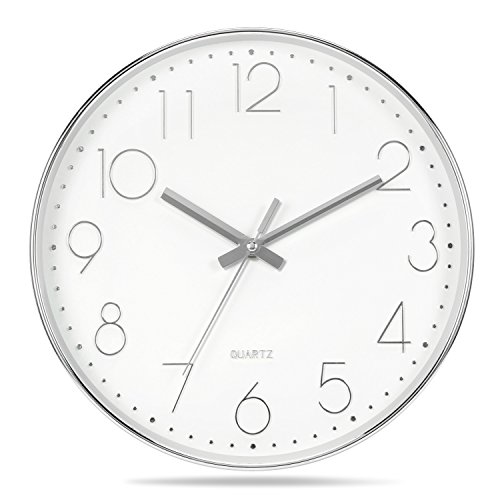 Genbaly Modern Wall Clock, Non Ticking Quality Quartz Battery Operated 12 Inch Round Easy to Read Home/Office/School Clock, Silüwe