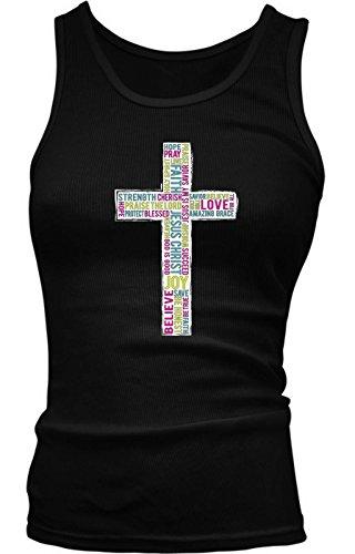Tcombo Colorful Inspirational Cross - Christian, Religious Girls/Juniors Tank Top T-shirt (XL, Black) (Girls Tupac Shirt)