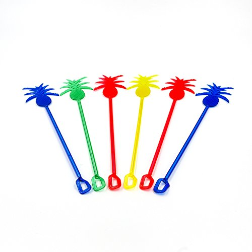Pineapple Drink Stirrers (50 pack) - 10 Inch Long Reusable Plastic Drink Swizzle Sticks - Fill Up Your Bar Caddy With Fun Tropical Pineapple Cocktail Stirrers (Assorted -