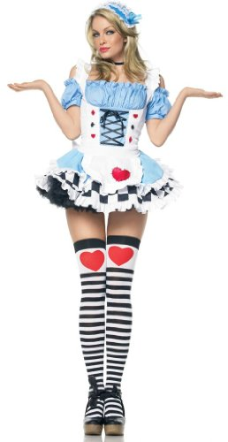 Leg Avenue Women' S 2 Piece Miss Wonderland Includes Headpiece And Apron With Ruffled Back, Blue, Small